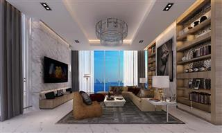 Condominium for sale The Palm Wongamat Pattaya showing the living room concept