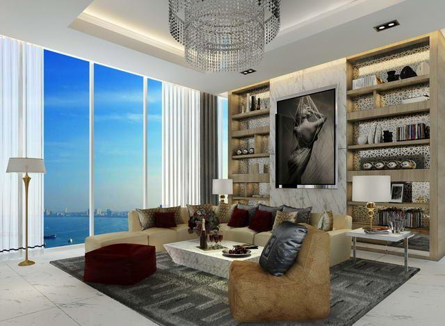 Condominium for sale The Palm Wongamat Pattaya showing the living room concept and sea view