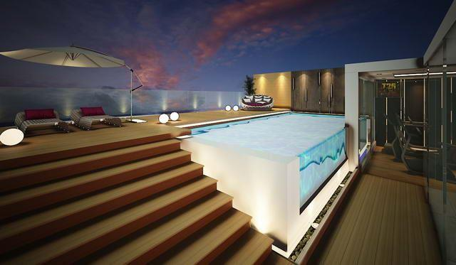 Condominium for sale The Palm Wongamat Pattaya showing the roof terrace with private pool