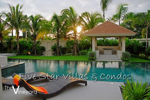Pool villa for sale in Pattaya at The Vineyard Phase 2 showing the pool terrace