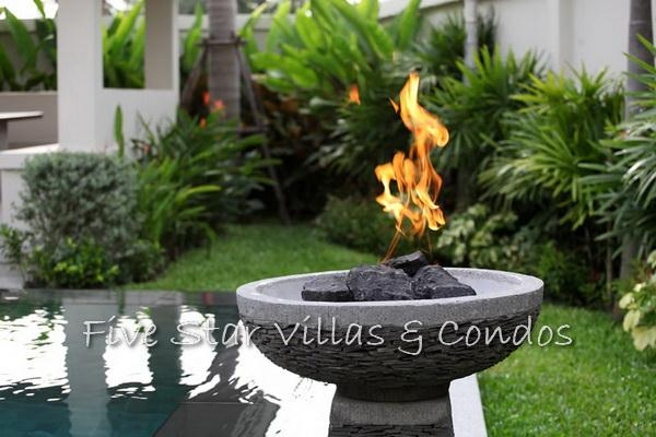 Pool villa for sale in Pattaya at The Vineyard Phase 2 showing the poolside flame