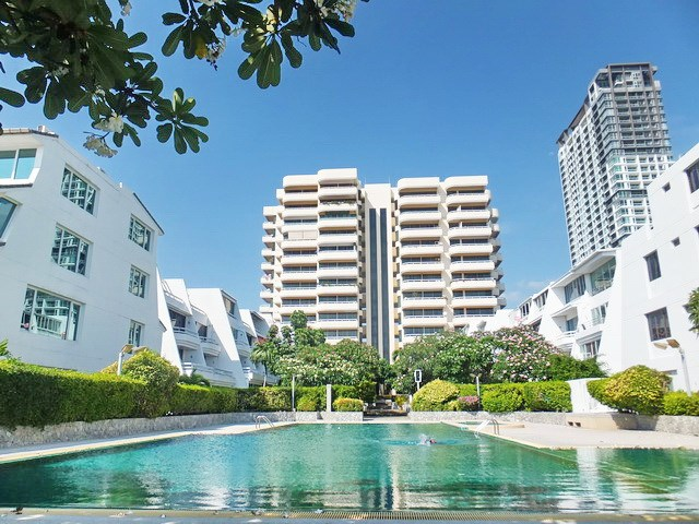 Condominium for rent Jomtien showing the communal swimming pool and building
