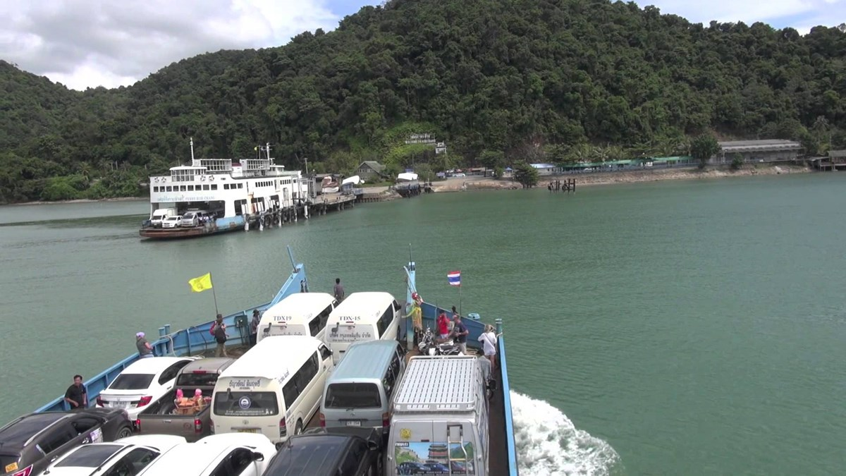 Land for sale Koh Chang beachfront showing the ferry port approach
